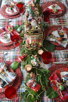 Merry Motoring Whimsical Christmas Table with Fitz and Floyd Santa Car Cookie Jar and Radko car ornaments   homeiswheretheboatis.net #Christmas #tablescape #tartan #plaid Tartan Christmas, Christmas Dishes, All Things Christmas, Christmas Home, Christmas Holidays, Merry Christmas, Christmas Crafts, Christmas Sangria, Cheap Christmas