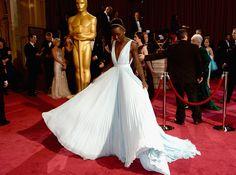 Lupita's Prada dress was head-to-toe perfection. #Oscars