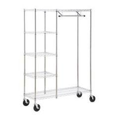Home Depot, Heavy Duty Steel Rolling Closet Rack in Chrome, $199