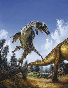*Deinonychus attacking!.. Artwork by Michael Skrepnick.