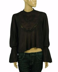 149675 New Free People Femme Fatale Lace Embroidered Bell sleeve Blouse Top S $15.95