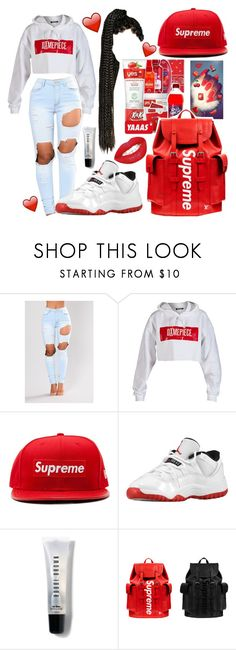 """❤❤❤"" by officially-mya ❤ liked on Polyvore featuring Dimepiece, New Era, Retrò, Bobbi Brown Cosmetics and Louis Vuitton"
