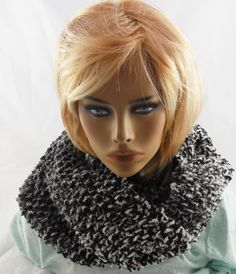 NEW handmade knit COWL INFINITY SCARF Boucle Yarn BLACK AND WHITE 62x10 #Handmade #CowlInfinity