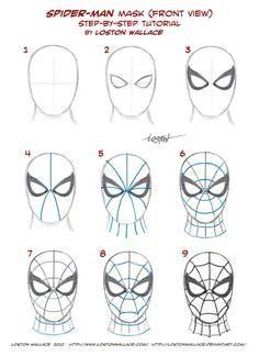 Spider-man's Mask Tutorial by *LostonWallace on deviantART (Baking Face Tutorial)Spider-man's Mask Tutorial by *LostonWallace on deviantART - Visit to grab an amazing super hero shirt now on sale!Most of you true believers already know how to draw the mas Spiderman Face, Spiderman Drawing, How To Draw Spiderman, Face Painting Spiderman, How To Draw Avengers, How To Draw Comics, Spider Man Face Paint, Spiderman Cookies, Drawing For Kids