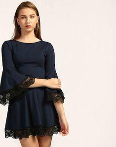 Blue Partywear Dresses - Online Blue Partywear Dresses Shopping At Stalkbuylove Skater Dress, Lace Detail, Dresses Online, Party Dress, Formal Dresses, Blue, Shopping, Color, Women