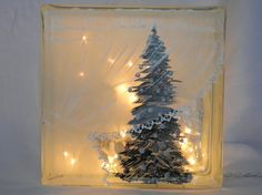 Glass Block Light-Curtain Tree-Night Light by bestemancreations Glass Cube, Glass Boxes, Glass Art, Painted Glass Blocks, Lighted Glass Blocks, Painted Vases, Christmas Glass Blocks, Glass Block Crafts, Block Painting