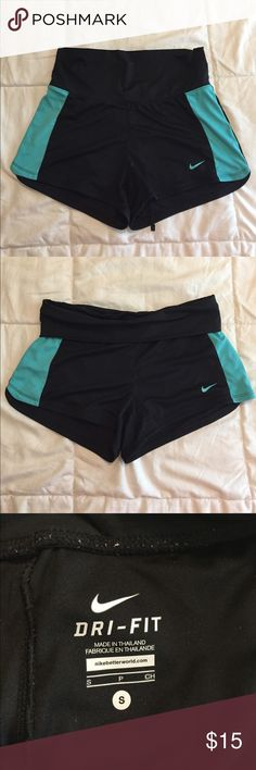 Nike Dri-Fit Running Shorts Nike dri-fit running shorts in black and teal. Stretchy, fold-over waist with drawstring. Small interior pocket in back. Worn several times, but still in great condition. No flaws. Nike Shorts