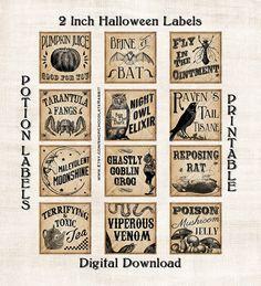 Vintage Potion Labels Halloween Witch Digital door chocolaterabbit