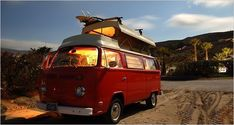 """Southern California beach camping:   """"Finding cheap beach campgrounds with a camper van is easy, in winter."""" Photo and article by Chris Dixon,   The New York Times.  Published: March 9, 2007.  Good article describing his road trip in a rental reconditioned 1973 Volkswagen camper van and the campgrounds he stayed at in winter."""