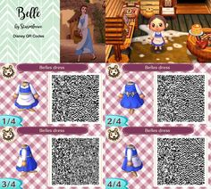 Belles Blue dress of Beauty and the Beast for Animal crossing new leaf Belle qr code