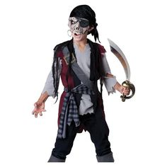 Kids Zombie Skeleton Pirate Scary Halloween Costume