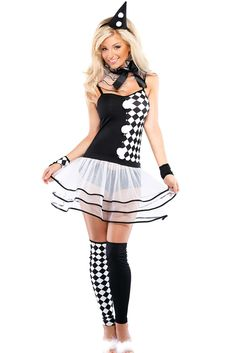 6pcs Black White Harlequin Clown Costume
