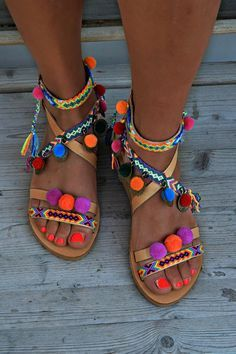 da218e0a7613 Leather sandals with sapphire