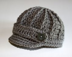 Knitting Patterns Boy Newborn Boy Hat - Newsboy Cap / Brim / Beanie -Gray - Grey - Knitted / Crochet - Baby / Infant on Et.Newborn Boy Baby Hat Newsboy / Visor / Brim Cap - gray with textured ridges and buttons. Perfect for those first photos, baby g Crochet Baby Boy Hat, Crochet Hat With Brim, Baby Boy Knitting, Crochet For Boys, Knitted Hats, Crochet Hats, Newborn Boy Hats, Baby Boy Hats, Knitting Patterns Boys