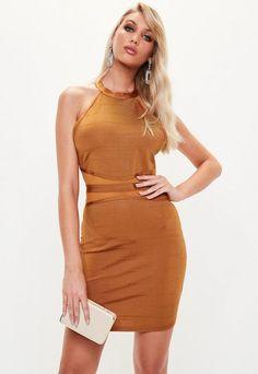 90be62fcd955 Gold Bandage Bodycon Mini Dress Fishtail Maxi Dress