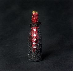 Glittering Black Jacket Miniature Bottle for Your Dollhouse at DinkyWorld by Etsy