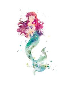 Ariel Print Watercolor Princess Wall Art Printable Little #ariel #littlemermaid #disneyprincess #disney #watercolorart #art #trend #artprint #disneyart #best #popular #wallart #nursery #gift #mermaid #baby gift #artforsale