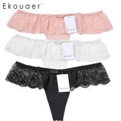 Ekouaer 3PCS/set Women Briefs Ladies Sexy Sheer Lace Sexy Panties Knickers Underwear G-String Underpants Plus size M L XL XXL