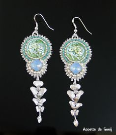 Bead embroidered earrings - blue, green and silver - pinned by pin4etsy.com