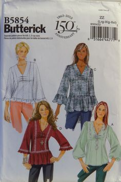 Free Us Ship Sewing Pattern Butterick 5854 Ruffle Peplum Loose Fitting Pullover Blouse Size 6 8 10 12 Bust 30 31 32 34 Uncut Out of Print by LanetzLiving on Etsy Butterick Sewing Patterns, Corset Sewing Pattern, Vintage Sewing Patterns, Clothing Patterns, Dress Patterns, Clothing Ideas, Top Pattern, Plus Size Tops, The Ordinary
