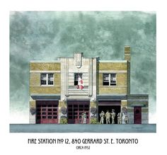 Fire Station Art Toronto Hall Number 12 Gerrard by WaltsTSquare Fire Hall, Art Toronto, Number 12, First Art, Art Deco, Buy And Sell, Mansions, Architecture, Street