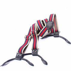 Summer Men's Adjustable 6 Buttons Suspenders for Women Genuine Leather Clip-on Y-back Suspender Red Striped Braces Belt Strap