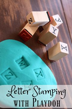 Use this letter stamping activity to introduce younger children to the alphabet or practice spelling/vocabulary words with older kids! Toddler Play, Preschool Activities, Toddler Games, Homeschool Kindergarten, Alphabet Activities, Motor Activities, Indoor Activities, Writing Activities, Summer Activities