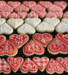 Valentine Heart Iced Gingerbread Cookies