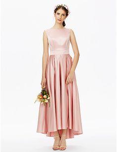 A-Line Bateau Neck Asymmetrical Satin Bridesmaid Dress with Sash / Ribbon Pleats by LAN TING BRIDE®