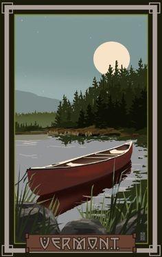 Kayak Lake CIM Deep Creek Lake Maryland Canoe In Moonlight - Northwest Art Mall - A canoe sits on a moonlit Deep Creek Lake in Maryland. National Park Posters, National Parks, Deep Creek Lake Maryland, Canoa Kayak, Canoe And Kayak, Canoe Boat, Canoe Trip, Wood Canoe, Canoe Camping