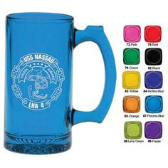 COOL Colorful Barware for your drink! $3.89/each Promotional 12.5 oz. Thumbprint Full Body Color Glass Tankard | Customized Bar Glassware | Promotional Bar Glassware