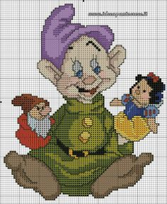 Dopey with Snow White and Grumpy puppets cross stitch pattern. Cross Stitch Disney, Disney Cross Stitch Patterns, Cross Stitch Fairy, Cross Stitch Charts, Cross Stitch Designs, Cross Stitching, Cross Stitch Embroidery, Stitch Cartoon, Plastic Canvas Patterns