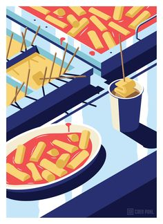 A Night Out in Seoul, a beautiful illustration series created by Coen Pohl. Coen Pohl is a Dutch freelance illustrator and graphic designer who lives and Art And Illustration, Illustrations And Posters, Graphic Design Illustration, Design Illustrations, Food Graphic Design, Food Design, Isometric Design, Affinity Designer, Guache