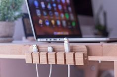 How many time have your laptop cables, USB cords and gadget chargers gotten tangled, fallen behind your desk, or just gone missing? Usb, Breathe, Glass Shower Enclosures, Desktop, Gadgets, Cable Organizer, Charging Cable, Wooden Diy, Diy Wood