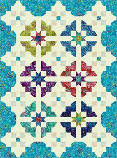 Split Medallion Quilt Pattern by Marin & Colusa.  Lots more quilt patterns on website.