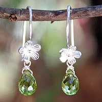 Marked by feminine grace, this design comes from Thai jeweler Khun Boom. She suspends faceted peridot from a sterling flower to create exquisite earrings. They total 4 precious carats.    $49.95