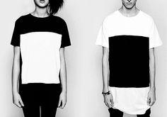 Simply geometric t-shirt, black and white for him and her - émoi émoi Minimal Fashion, White Fashion, Mega Sena, Casual Outfits, Fashion Outfits, Fashion Clothes, Geometric Fashion, Love T Shirt, Black N White