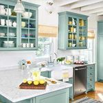 I love the ceiling and color of this kitchen  Via thisoldhouse