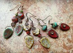 Boho earrings made with Czech glass leaves - perfect for fall! Dangly Earrings, Leaf Earrings, Beaded Earrings, Flower Earrings, Geode Jewelry, Flower Jewelry, Glass Jewelry, Diy Jewelry Inspiration, Jewelry Ideas