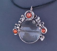 Metal necklace with Gemstone cornelian,  agate and magnifying glass. Pendant is handmade.Tiffany technique, Healing Stone, jewellery . by Helenamode on Etsy