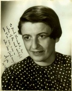 To Dina Blumenthal [Nathaniel's Mother], the mother of the most wonderful son I've ever seen - with love (and envy), Ayn 10-1-52