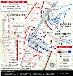The American Battlefield Trust's Battle of Gettysburg map focused on the Confederate attack on The Peach Orchard on July 1863 Gettysburg Map, Gettysburg Battlefield, Us History, American History, History Class, Teaching History, Gettysburg National Military Park, Military Tactics, Confederate Monuments