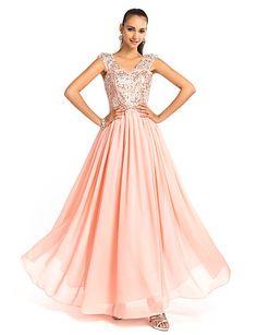 Sheath/Column V-neck Floor-Length Chiffon Evening/Prom Dress - USD $ 117.99
