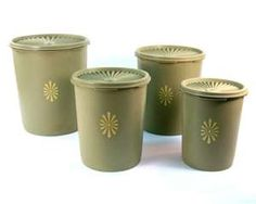 Vintage Avocado Green Tupperware Canister Set of by Retroburgh