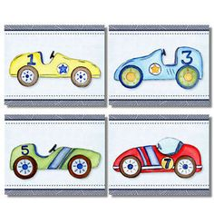 Roadster Race Car Box Car Nursery Bedding Artwork Prints for Baby ...