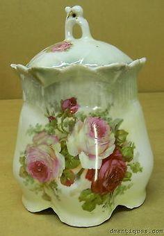 ANTIQUE GERMAN DECORATIVE PORCELAIN BISCUIT CRACKER JAR PAINTED FLOWERS ROSES