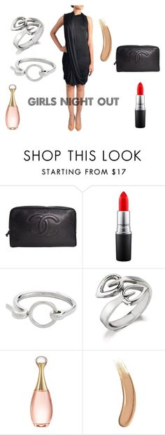 """""""Girls Night Out   Little Black Jersey Dress"""" by strandofsilk ❤ liked on Polyvore featuring Chanel, MAC Cosmetics, Alexander Wang, Christian Dior and Gucci"""