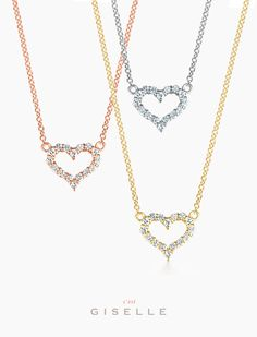 Giselle Jewelry | A heart of sparkling diamonds attached to a fine 14k gold necklace is sure to sparkle elegantly on any woman's skin.  #gisellejewelry #necklace #diamonds #heart #diamondheart #14k