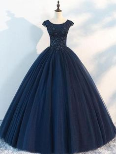 Navy Cap Sleeves Ball Gown Tulle Cheap Long Evening Prom Dresses 16a2b869dc