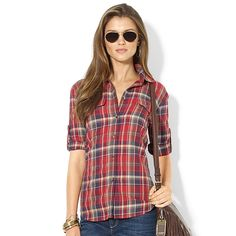Plaid Cotton Workshirt in  from Lord & Taylor on shop.CatalogSpree.com, your personal digital mall.